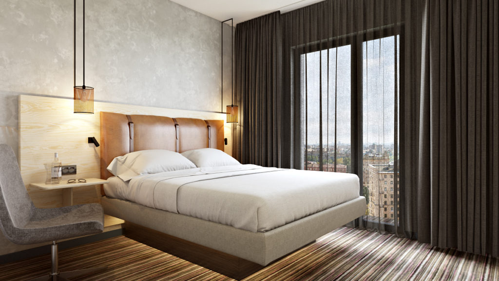 Moxy Dusseldorf hotelroom visualization